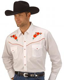 Ely Cattleman Embroidered Rose Design Western Shirt