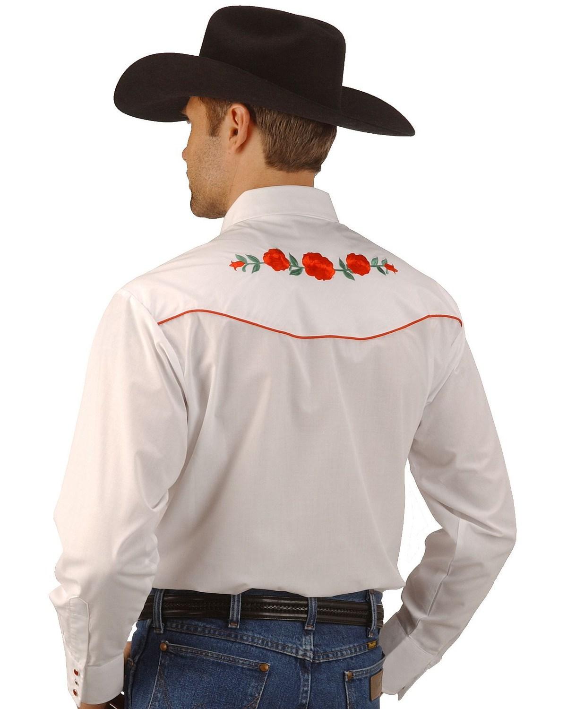 Ely cattleman men s embroidered rose design western shirt