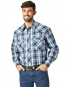 Wrangler Assorted Stripe or Plaid Classic Long Sleeve Western Shirt