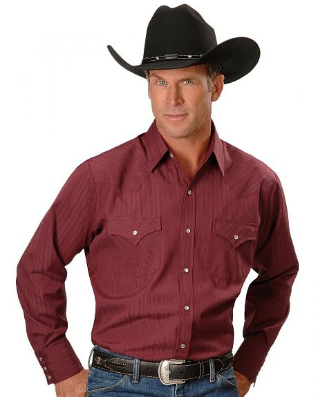 Ely Dobby Solid Western Dress Shirt