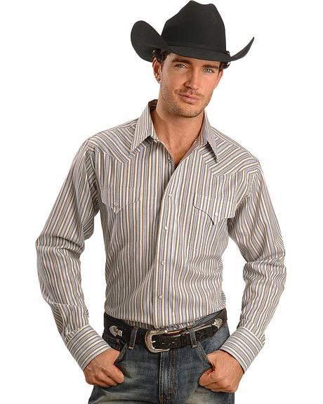 Panhandle Slim Striped Western Dress Shirt