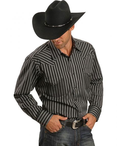 Panhandle Slim Satin Black Dobby Stripe Shirt