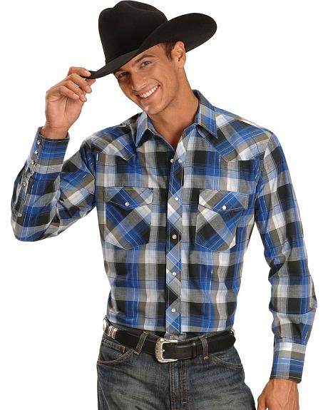 Roper Men's Plaid Lurex Long Sleeve Shirt