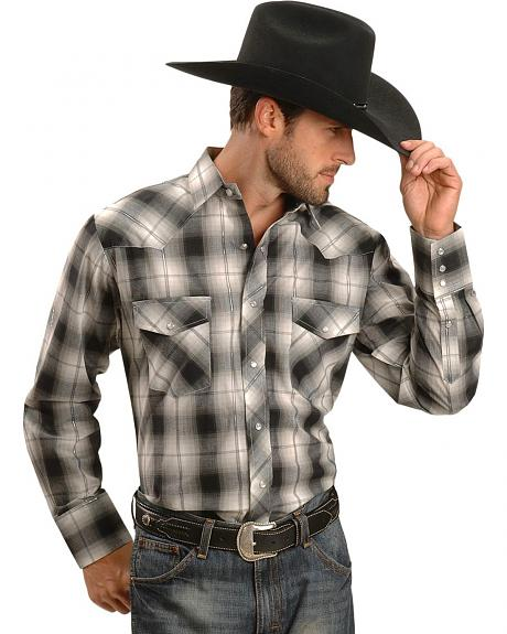 Roper Black & White Lurex Plaid Western Shirt