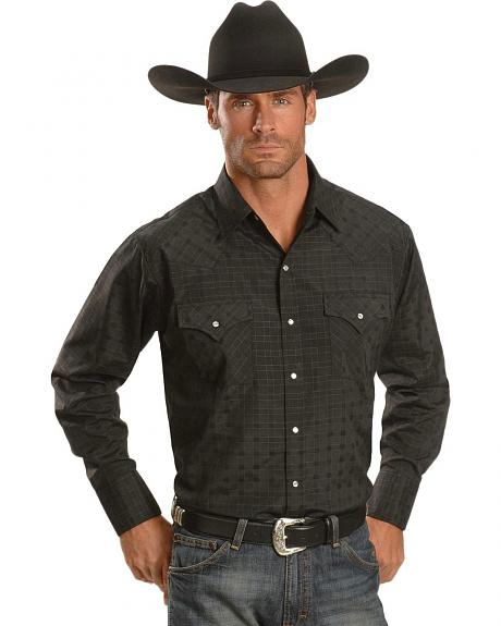 Ely Dobby Check Plaid Western Shirt