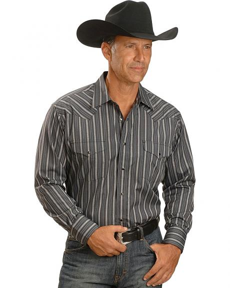 Panhandle Slim Black Satin Stripe Dress Western Shirt