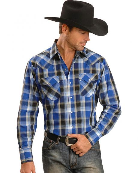 Ely Dark Blue Plaid Western Shirt - Reg