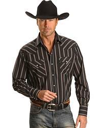 Ely Black Striped Western Shirt - Reg at Sheplers