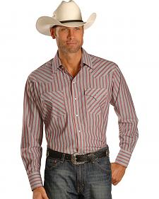 Ely Light Red Stripe Long Sleeve Western Shirt