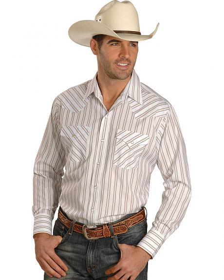 Ely White Dobby Striped Western Shirt - Reg
