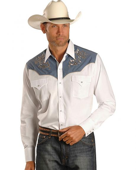 Ely Chambray Vine Embroidered Retro Western Shirt