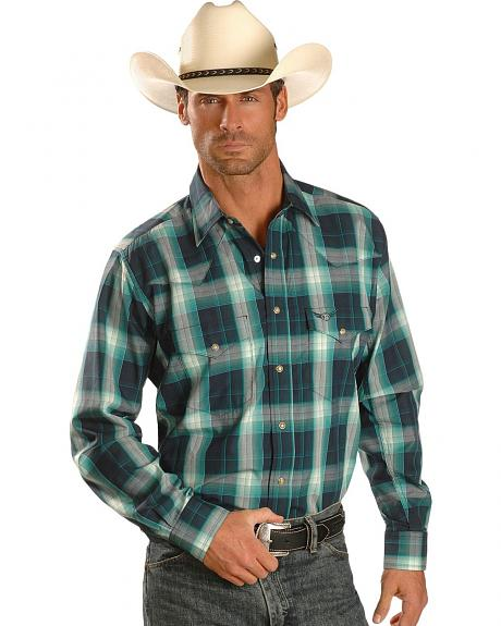 Wrangler Relentless Emerald & Navy Plaid Long Sleeve Western Shirt