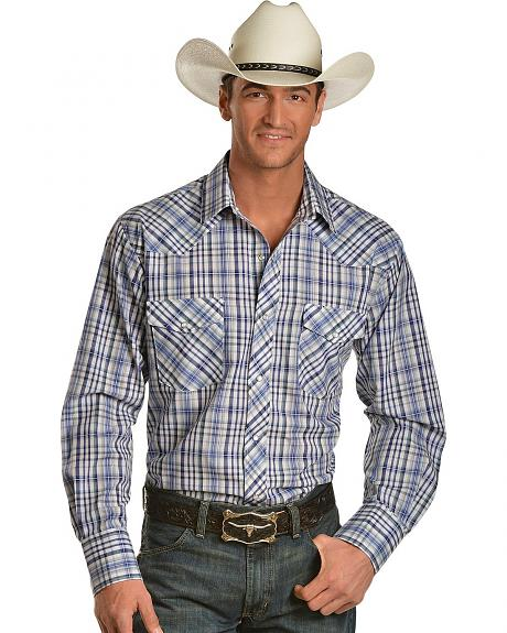 Roper Blue Plaid Lurex Snap Western Shirt