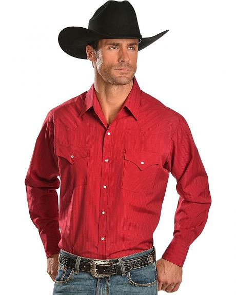 Ely Red Dobby Stripe Long Sleeve Western Shirt