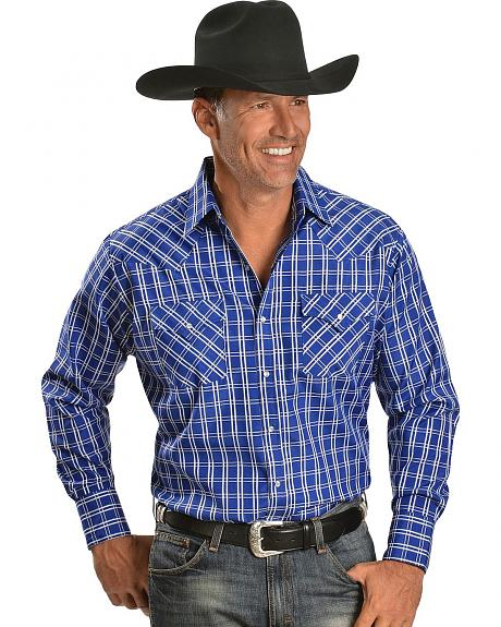 Ely White & Blue Checkered Long Sleeve Western Shirt