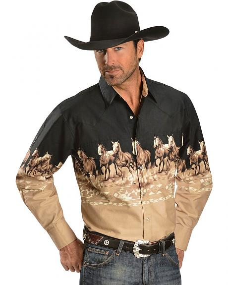 Ely Black & Khaki Running Horses Border Long Sleeve Western Shirt