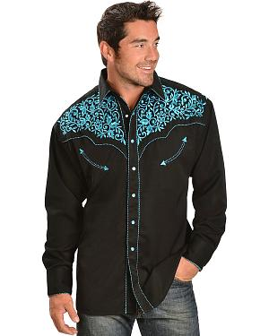 Exclusive Gibson Trading Co. Turquoise Embroidered Retro Western Shirt
