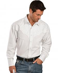 Exclusive Gibson Trading Co. White Embroidered Retro Western Shirt