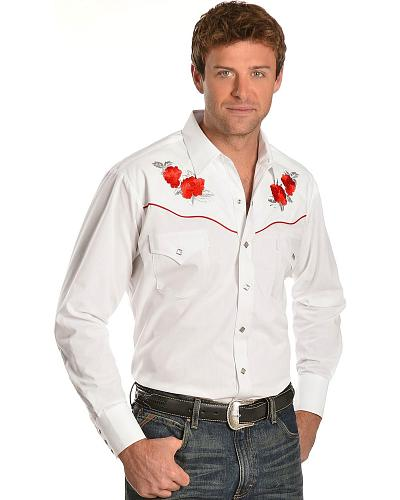 ely silver tone embroidered retro western shirt
