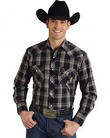 Roper Men's Black Plaid Snap Long Sleeve Shirt
