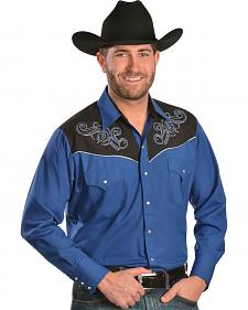 Ely Blue Embroidered Lurex Western Shirt