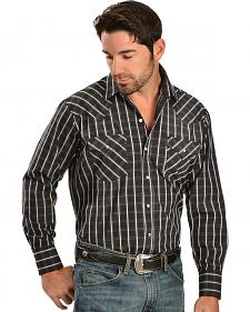 Ely Black Dobby Long Sleeve Western Shirt