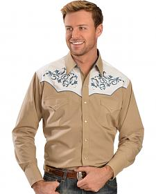 Ely Cattleman Khaki and Blue Embroidered Western Shirt