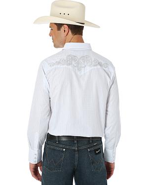 Wrangler Silver Edition White Embroidered Western Shirt
