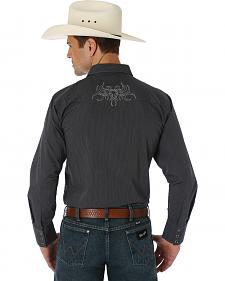 Wrangler Silver Edition Black Embroidered Western Shirt