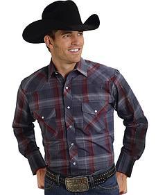 Roper Men's Gray Lurex Plaid Western Shirt