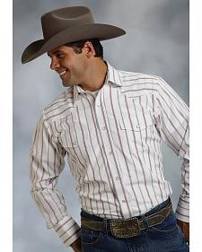 Roper Men's Red & White Striped Western Shirt