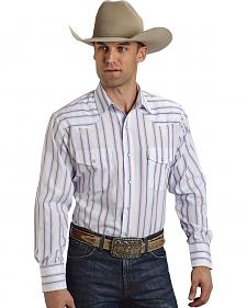 Roper Men's Blue and White Striped Western Shirt