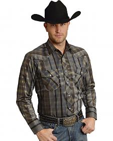 Roper Men's Brown Snap Gold Stripe Lurex Western Shirt