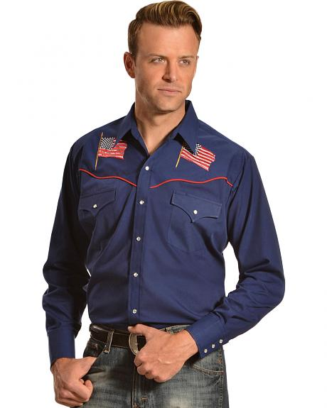 Ely Cattleman Men's American Flag Embroidered Western Shirt