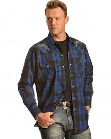 Ely Cattleman Men's Embroidered Navy Plaid Western Shirt