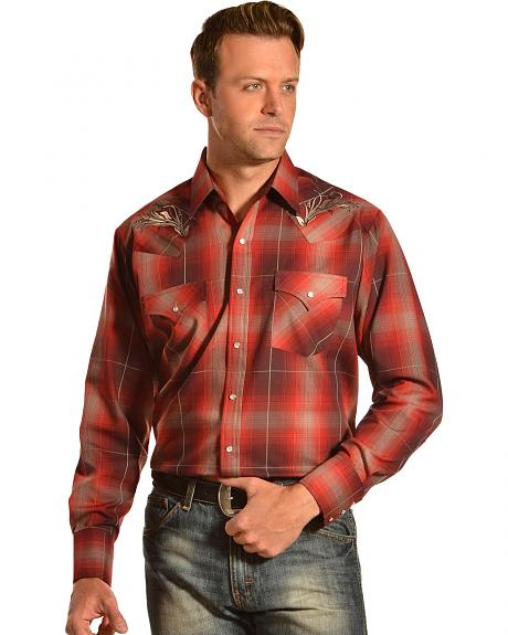 Ely Cattleman Men's Embroidered Rust Plaid Western Shirt