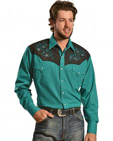Ely Cattleman Men's Embroidered Teal Lurex Western Shirt