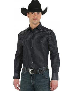 Wrangler Silver Edition Embroidered Black Western Shirt