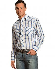 Gibosn Trading Co. Blue & White Plaid Lurex Shirt