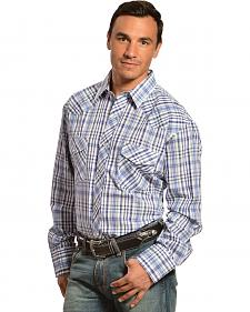 Gibson Trading Co. Blue Plaid Lurex Shirt