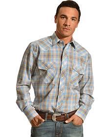 Gibson Trading Co. Tan & Blue Plaid Lurex Shirt
