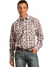 Gibson Trading Co. Burgundy Plaid Lurex Shirt