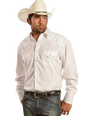 Gibson Trading Co. White Lurex Stripe Western Shirt