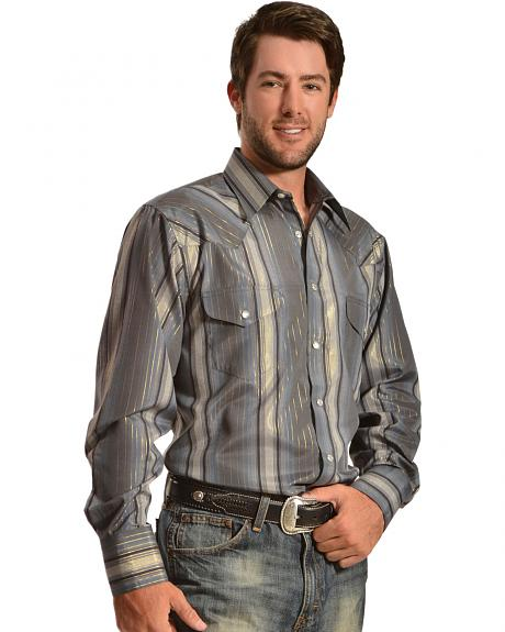 Gibson Trading Co. Charcoal Lurex Stripe Western Shirt