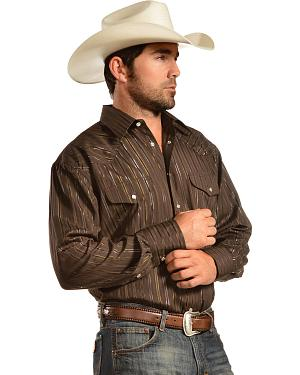 Gibson Trading Co. Brown Lurex Long Sleeve Shirt