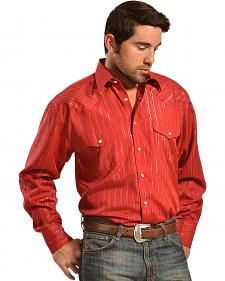 Gibson Trading Co. Red Lurex Stripe Western Shirt