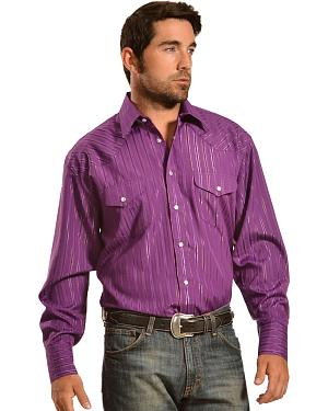Gibson Trading Co. Purple Lurex Western Shirt