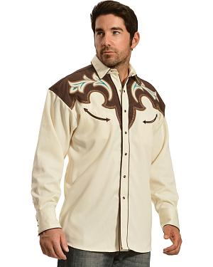 Gibson Trading Co. Cream and Brown Embroidered Vintage Western Shirt