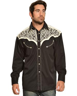 Gibson Trading Co. Cream and Black Embroidered Vintage Western Shirt