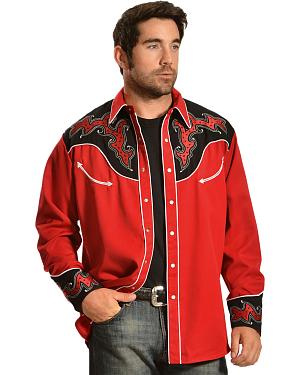 Gibson Trading Co. Red and Black Embroidered Vintage Western Shirt